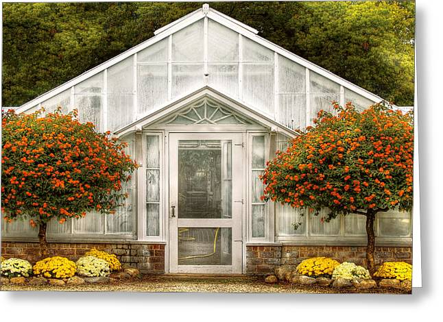 Glass Doors Greeting Cards - Greenhouse - The Green House Door Greeting Card by Mike Savad