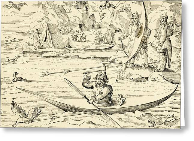 Pictura Greeting Cards - Greenland hunters, 16th century Greeting Card by Science Photo Library