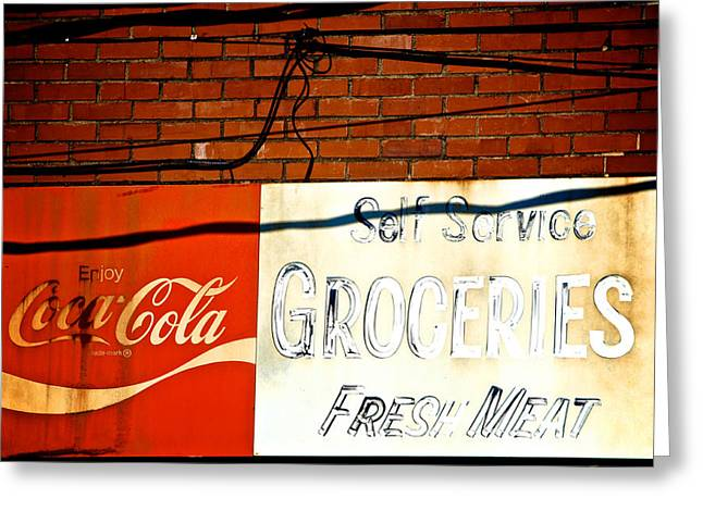 Ghost Signs Greeting Cards - Greens Grocery Greeting Card by Brandon Addis