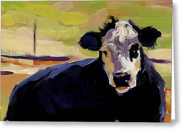 Black And White Cow Greeting Cards - Greens Greeting Card by Molly Poole