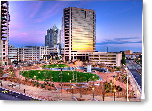 City Scapes Framed Prints Greeting Cards - Greensboro Center City Park I Greeting Card by Dan Carmichael