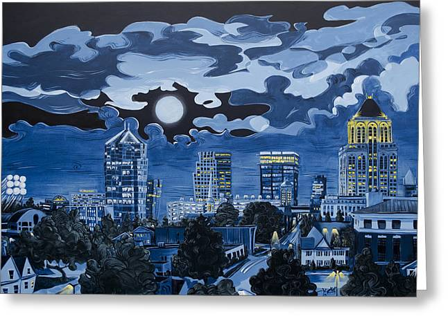 Baseball Stadiums Paintings Greeting Cards - Greensboro Night Skyline Greeting Card by John Gibbs