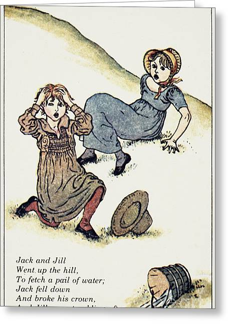 Nursery Rhyme Greeting Cards - Greenway: Jack & Jill Greeting Card by Granger