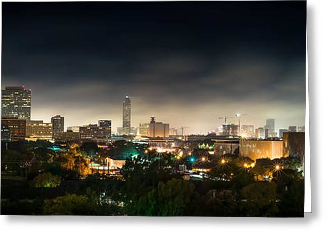 Night Photography Greeting Cards - Greenway Plaza and the Galleria Greeting Card by David Morefield
