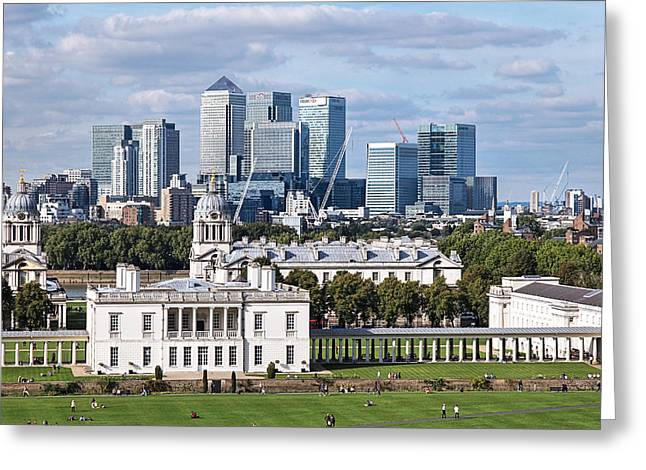 Naval College Greeting Cards - Greenwich and Canary Wharf Greeting Card by Gill Billington