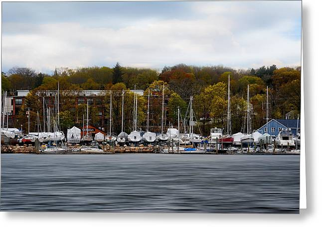 Boats In Harbor Greeting Cards - Greenwich Harbor Greeting Card by Lourry Legarde