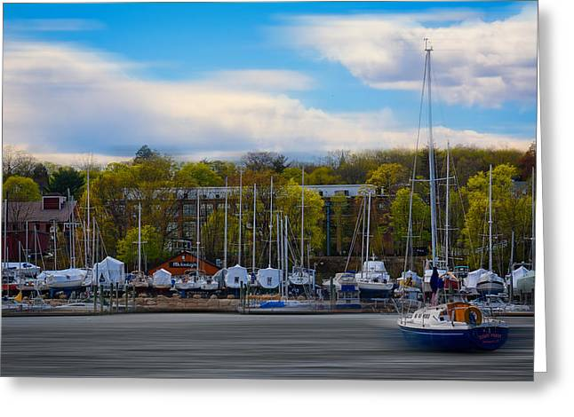 Boats In Harbor Greeting Cards - Greenwich Marina Greeting Card by Lourry Legarde