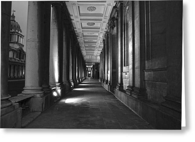 Royal Naval College Greeting Cards - Greenwich Royal Naval College HDR BW Greeting Card by David French