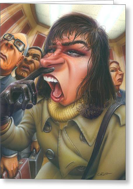 Blank Greeting Cards Greeting Cards - Greeting Card Flu Season Woman About To Sneeze Greeting Card by Walt Curlee