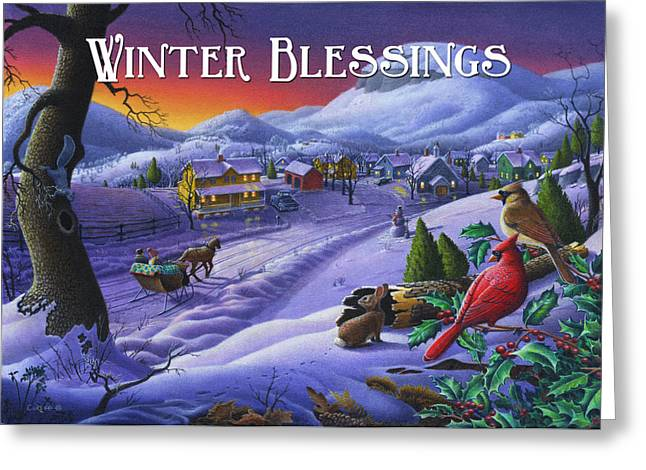 New England Snow Scene Paintings Greeting Cards - greeting card no 14 Winter Blessings Greeting Card by Walt Curlee