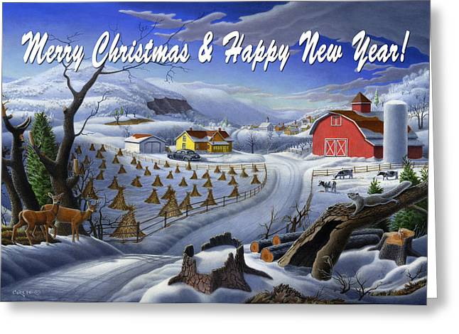 New England Snow Scene Paintings Greeting Cards - greeting card no 3 Merry Christmas and Happy New Year Greeting Card by Walt Curlee