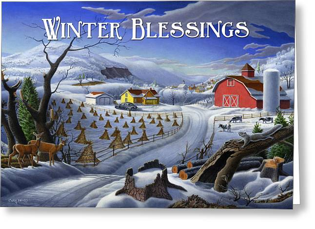 New England Snow Scene Paintings Greeting Cards - greeting card no 3 Winter Blessings Greeting Card by Walt Curlee