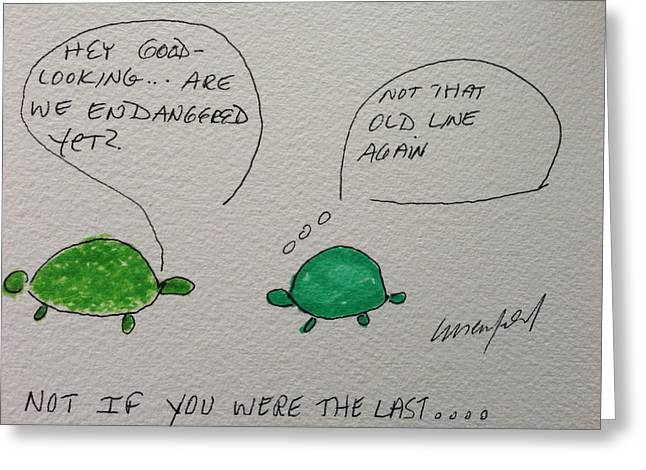 Humorous Greeting Cards Drawings Greeting Cards - Greeting Card Voice of the Turtle Endangered Greeting Card by Gail Eisenfeld