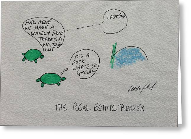 Humorous Greeting Cards Drawings Greeting Cards - Greeting Card Voice of the Turtle The Real Estate Broker II Greeting Card by Gail Eisenfeld