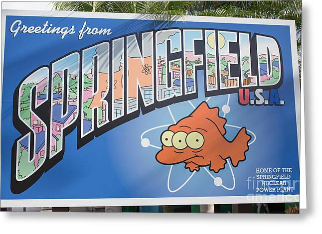 Simpson Greeting Cards - Greeting from Springfield USA Greeting Card by Edward Fielding