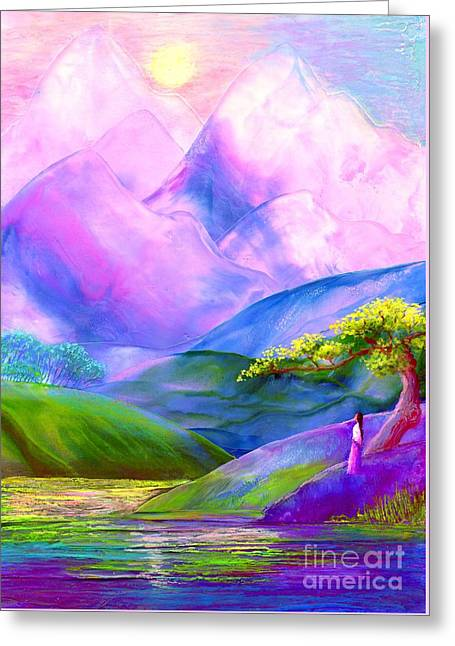 Glowing Water Greeting Cards - Greeting the Dawn Greeting Card by Jane Small