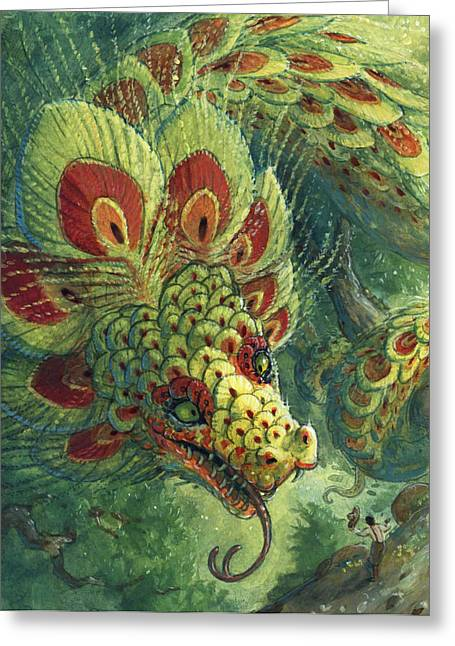 Storybook Greeting Cards - Greeting the Quetzalcoatl Greeting Card by Jaimie Whitbread