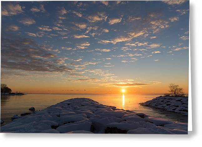 Snow-covered Landscape Greeting Cards - Greeting the Winter Sun on the Lake Greeting Card by Georgia Mizuleva