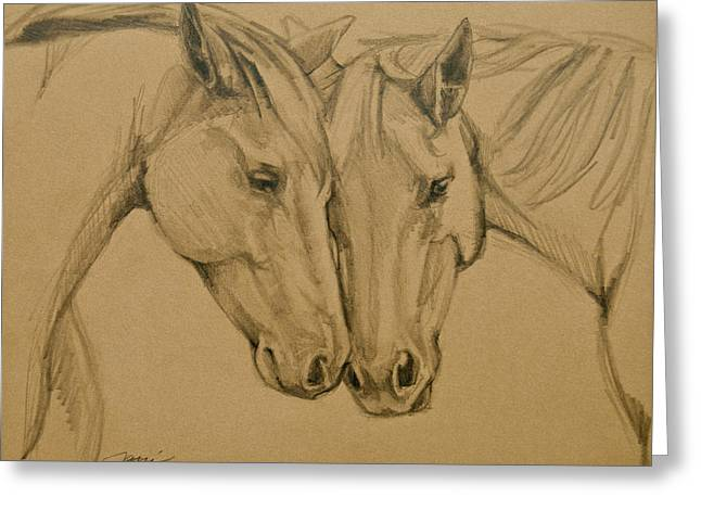 Horse Images Drawings Greeting Cards - Greetings Friend Greeting Card by Jani Freimann