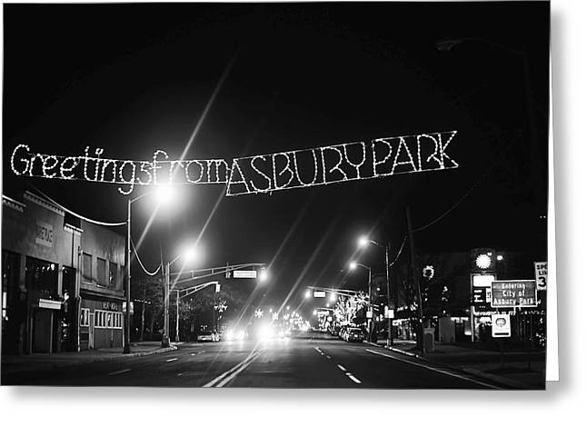 Cafe City Lights Greeting Cards - Greetings from Asbury Park New Jersey Black and White Greeting Card by Terry DeLuco