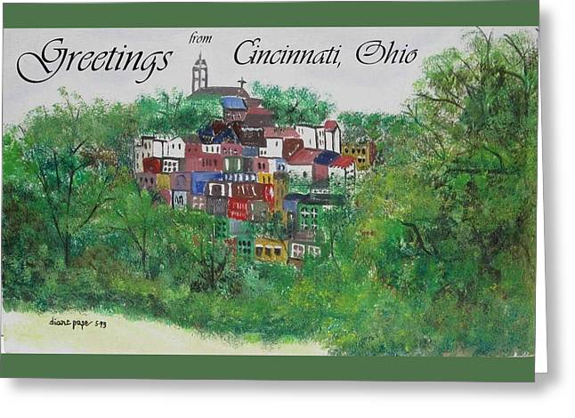 Wine Tour Paintings Greeting Cards - Greetings from Cincinnati Ohio Greeting Card by Diane Pape