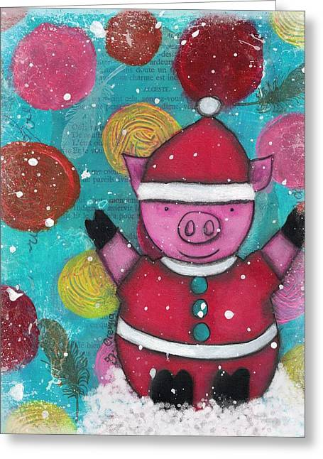 Piglets Mixed Media Greeting Cards - Greetings from the North Pig Greeting Card by Barbara Orenya