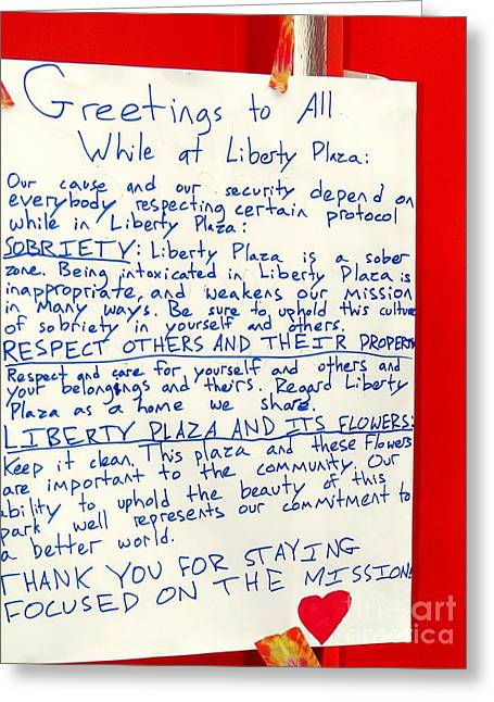 Occupy Greeting Cards - Greetings To All Greeting Card by Ed Weidman