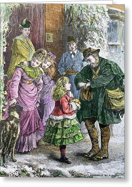 Presents Photographs Greeting Cards - Greetings, Victorian Print, Hand Coloured By Pat Scott Living Artist Greeting Card by Bridgeman Images