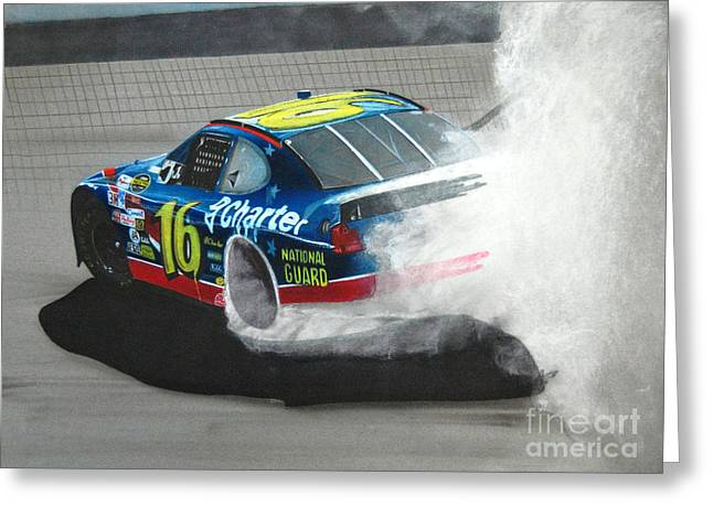 Sponsor Greeting Cards - Greg Biffle-victory burnout Greeting Card by Paul Kuras