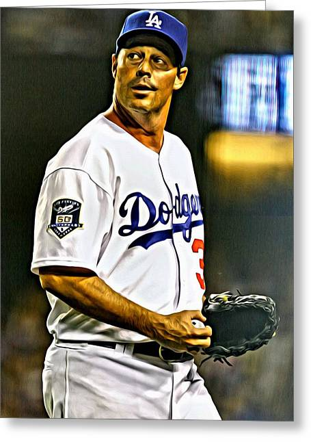 San Diego Padres Greeting Cards - Greg Maddux Painting Greeting Card by Florian Rodarte