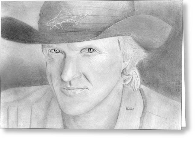 Norman Drawings Greeting Cards - Greg Norman - The Shark Greeting Card by Pat Moore