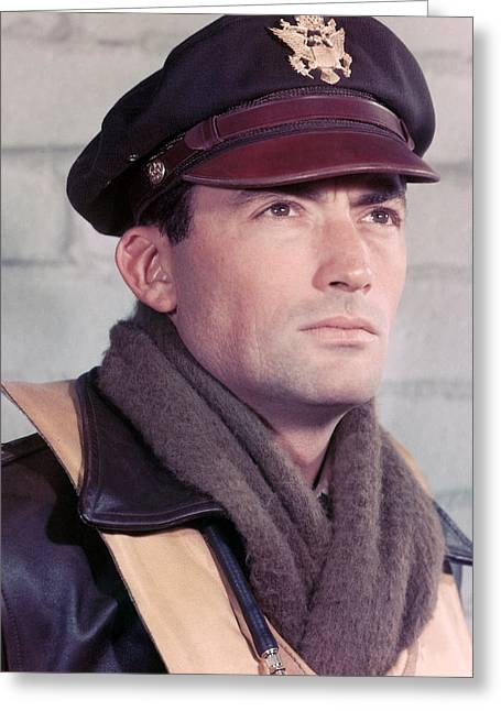 Twelve Greeting Cards - Gregory Peck in Twelve OClock High  Greeting Card by Silver Screen