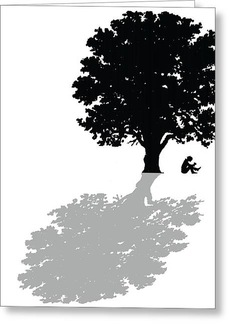 Oak Trees Greeting Cards - Gregorys thoughts lead him to question the very nature of his existence Greeting Card by Mike Swift