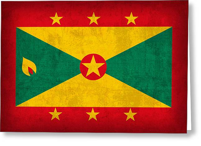National Mixed Media Greeting Cards - Grenada Flag Vintage Distressed Finish Greeting Card by Design Turnpike
