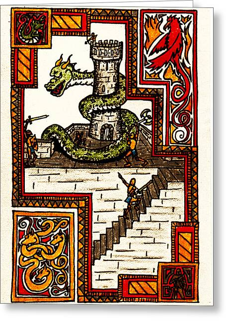 Illuminate Drawings Greeting Cards - Grendel Greeting Card by Michael Lee