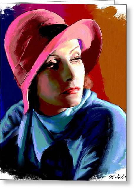 Allen Glass Greeting Cards - Greta Garbo Greeting Card by Allen Glass