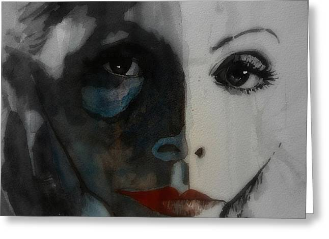 Greta Greeting Cards - Greta Garbo Greeting Card by Paul Lovering