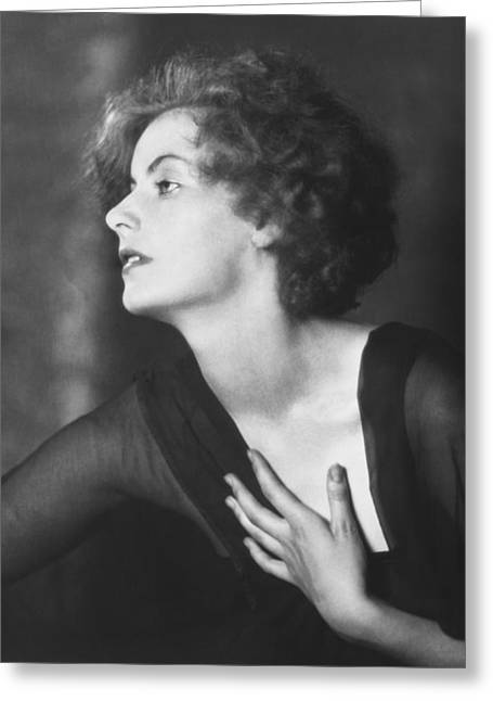 Greta Garbo Portrait Greeting Card by Arnold Genthe