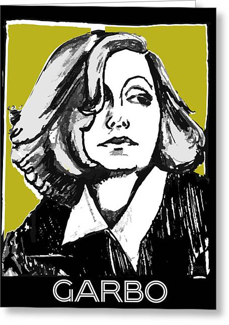 Classic Hollywood Mixed Media Greeting Cards - Greta Garbo Portrait  Greeting Card by Cecely Bloom