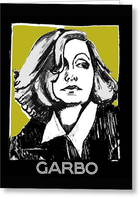 Greta Garbo Portrait  Greeting Card by Cecely Bloom