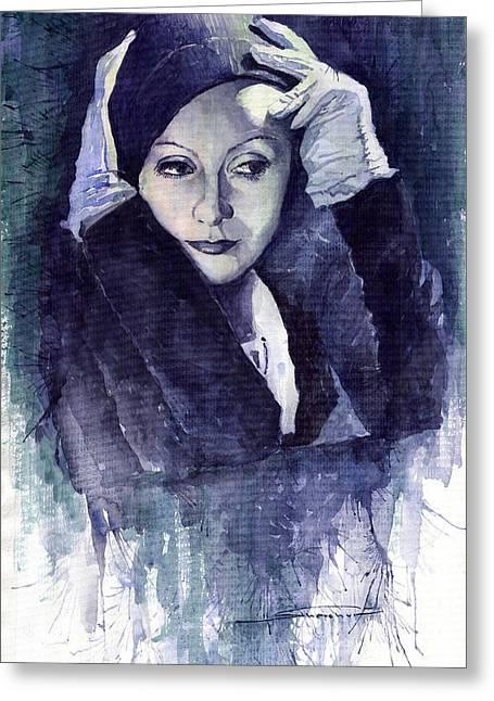Greta Garbo Greeting Card by Yuriy  Shevchuk
