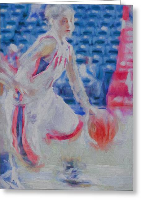 White River Greeting Cards - Gretchen Gaskin Digitally Painted IUPUI Basketball Star Greeting Card by David Haskett