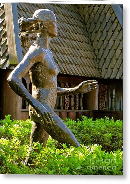 Wooden Sculpture Greeting Cards - Grete Waitz Sculpture Greeting Card by Joy Hardee