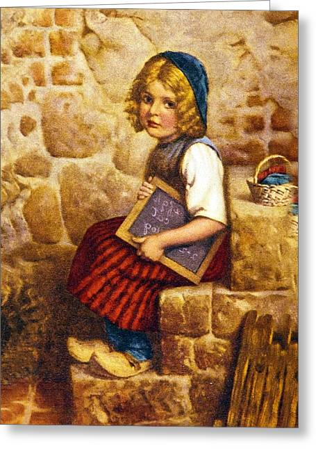 Little Boy Greeting Cards - Gretel Brothers Grimm Greeting Card by Wilhelm Kaulbach