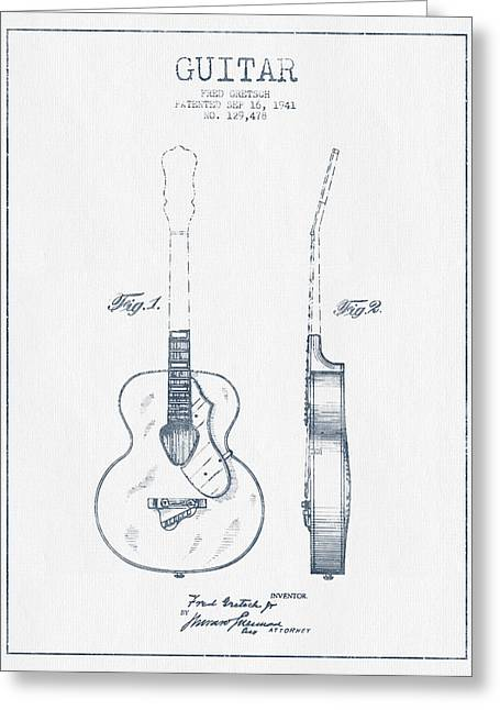 String Instrument Greeting Cards - Gretsch guitar patent Drawing from 1941 - Blue Ink Greeting Card by Aged Pixel