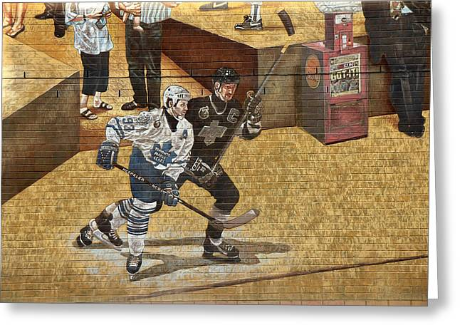 Wayne Gretzky Greeting Cards - Gretzky and Gilmour 2 Greeting Card by Andrew Fare