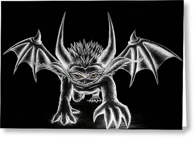 Demon Ears Greeting Cards - Grevil Chalk Greeting Card by Shawn Dall