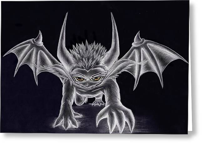 Demon Ears Greeting Cards - Grevil Silvered Greeting Card by Shawn Dall