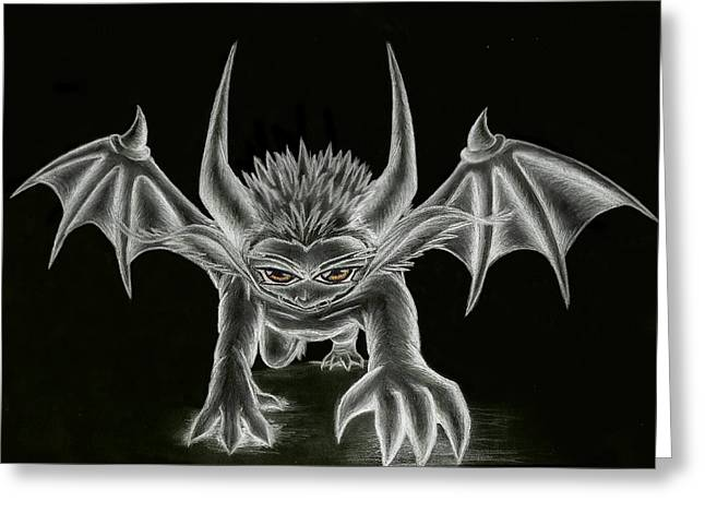 Demon Ears Greeting Cards - Grevil Statue Greeting Card by Shawn Dall
