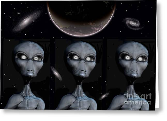 Fantasy Creature Digital Greeting Cards - Grey Alien Clones Greeting Card by Mark Stevenson